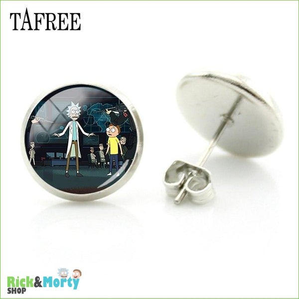 TAFREE Cute Cartoon Character Rick And Morty Figure Stud Earrings For Women Metal Action Figure Earrings Women Jewelry QF428 - QF445 - 27