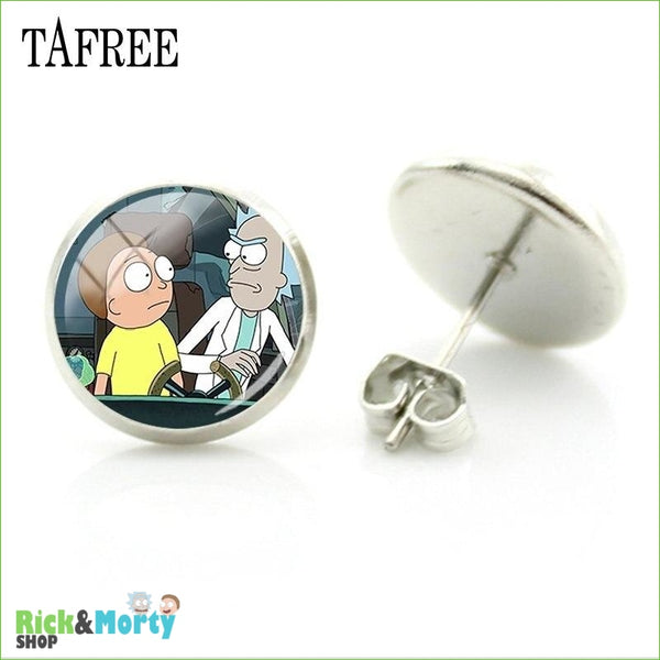 TAFREE Cute Cartoon Character Rick And Morty Figure Stud Earrings For Women Metal Action Figure Earrings Women Jewelry QF428 - QF448 - 25