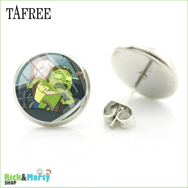 TAFREE Cute Cartoon Character Rick And Morty Figure Stud Earrings For Women Metal Action Figure Earrings Women Jewelry QF428 - QF449 - 20