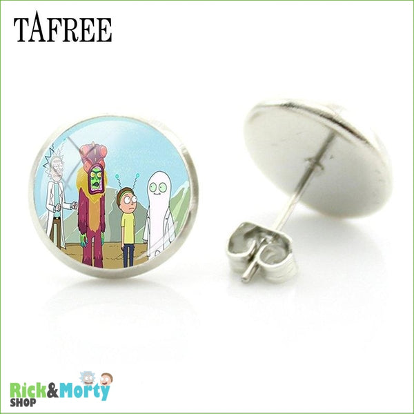 TAFREE Cute Cartoon Character Rick And Morty Figure Stud Earrings For Women Metal Action Figure Earrings Women Jewelry QF428 - QF450 - 19