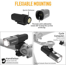 Load image into Gallery viewer, XOSS Smart Bike Light, 800 Lumens, 5 Light Modes, Water Resistant - XOSS.CO