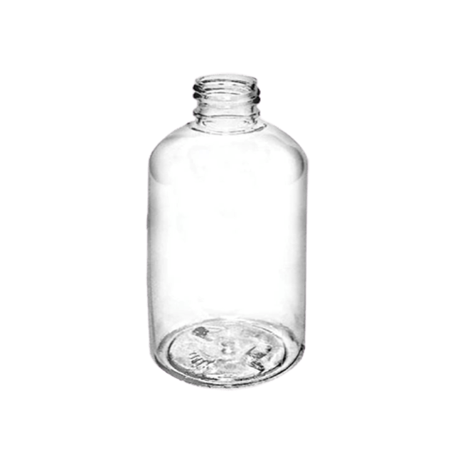 250ml/8 oz Clear PET Boston Round  LIDS SOLD SEPARATELY - Soap & More the Learning Centre Inc