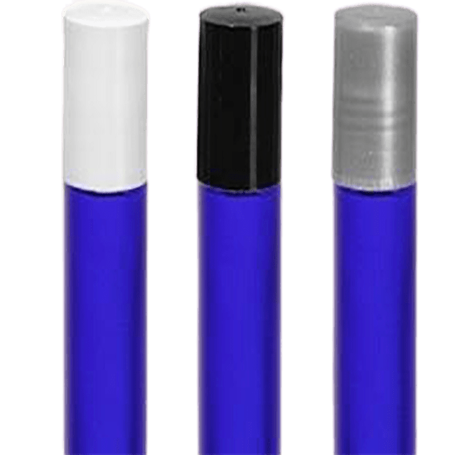 10 ml - 1/3 oz Cobalt Frosted Glass Roller Bottle Set - Soap & More the Learning Centre Inc