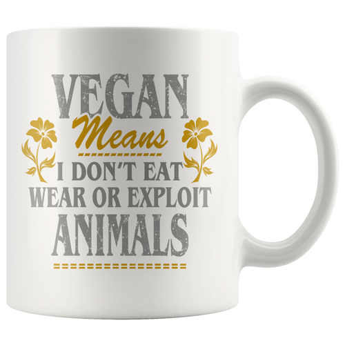 ''VEGAN MEANS'' MUGS