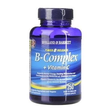 Holland & Barrett Vitamin B Complex plus Vitamin C Timed Release 250 Caplets - Natural Ethos