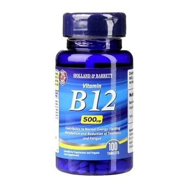 Holland & Barrett Vitamin B12 100 Tablets 500ug - Natural Ethos