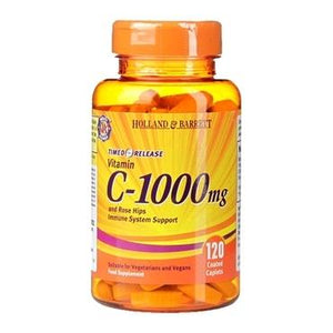 Holland & Barrett Timed Release Vitamin C with Rose Hips 120 Caplets 1000mg - Natural Ethos