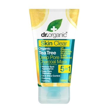 Dr Organic Skin Clear Organic Tea Tree Deep Pore Charcoal Mask 100ml - Natural Ethos