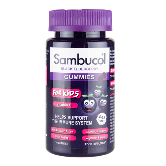 Sambucol For Kids 4-12 Years + Vitamin C Black Elderberry 30 Gummies - Natural Ethos