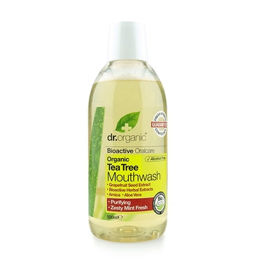Dr Organic Antibacterial Tea Tree Mouthwash 500ml - Natural Ethos