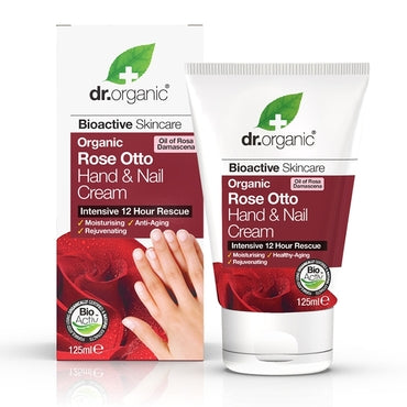 Dr Organic Rose Otto Hand & Nail Cream 125ml - Natural Ethos
