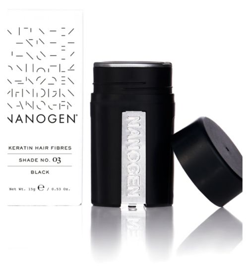 Nanogen Hair Thickening Keratin Fibres - Black 15g (1 month supply) - Natural Ethos