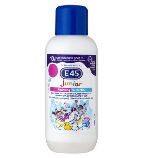 E45 Junior Foaming Bath Milk for Dry Skin & Sensitive Skin 500ml - Natural Ethos