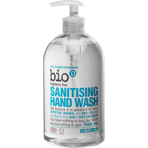 Bio-D Anti Bacterial Hand Wash - Fragrance Free 500ml - Natural Ethos
