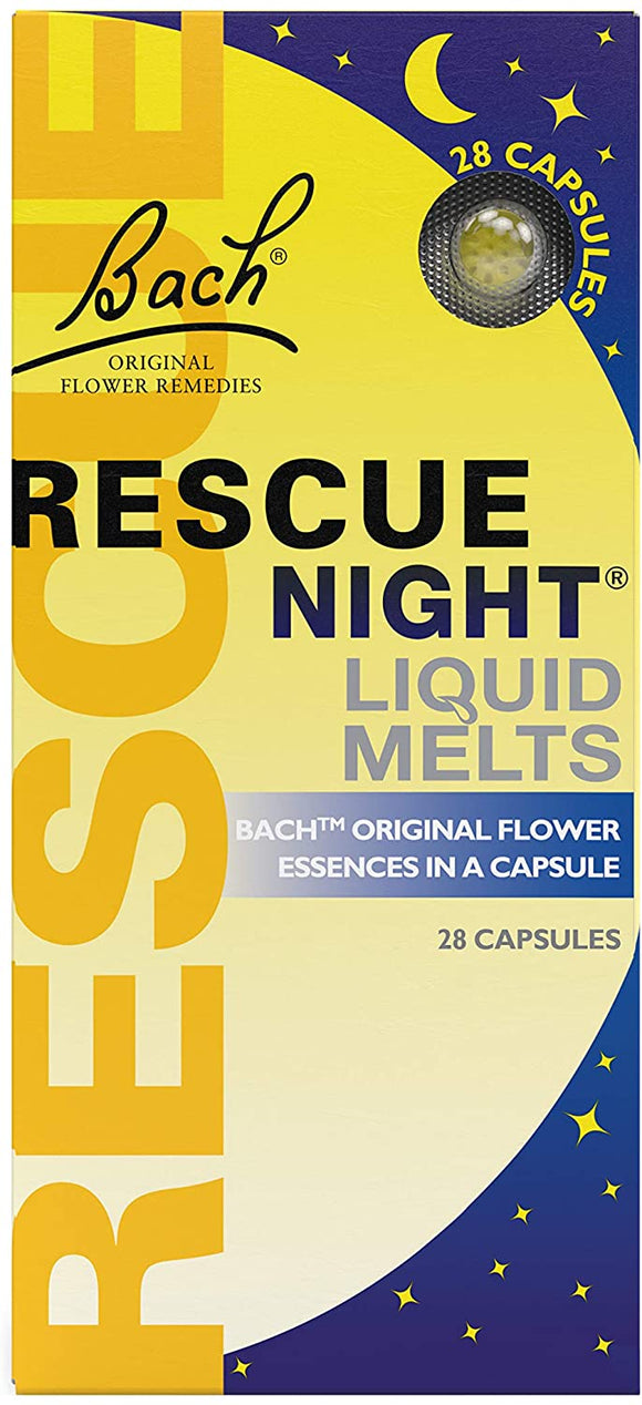 Bach Original Flower Remedies Rescue Night Liquid Melts 28 Capsules - Natural Ethos