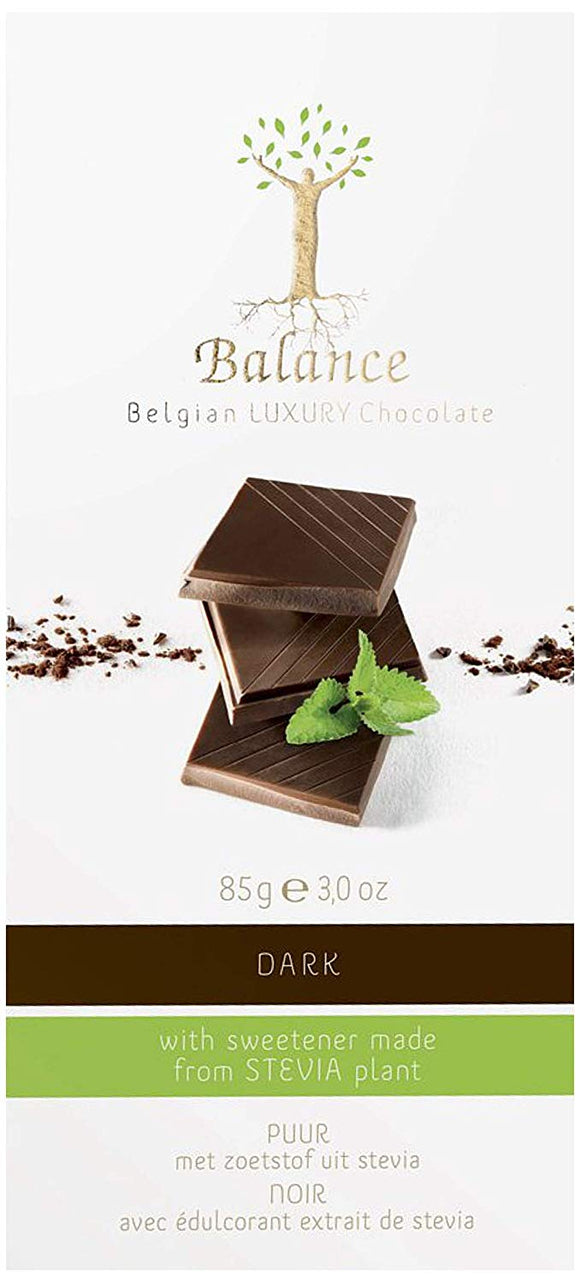 Balance Dark Chocolate Bar - Stevia Sweetened - Natural Ethos