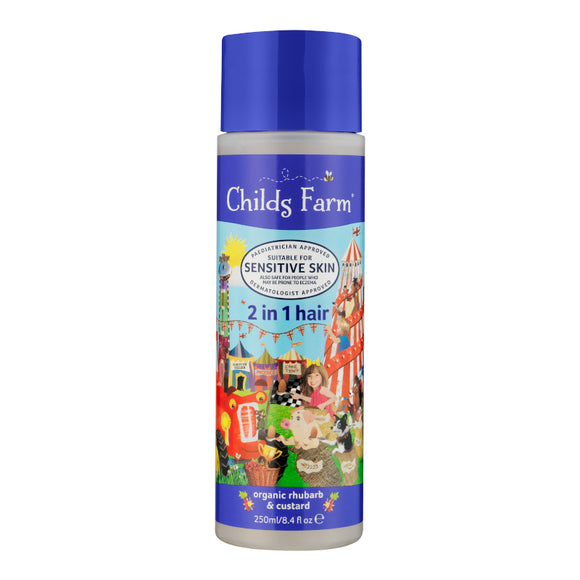 Childs Farm 2 in 1 shampoo & conditioner, organic rhubarb & custard 250ml - Natural Ethos