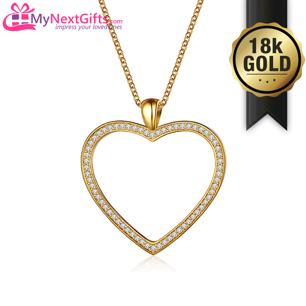 18K Gold Plated - Personalized Photo Heart Necklace