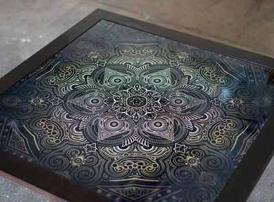 Sacred Medallion Glass Art and Wood Table