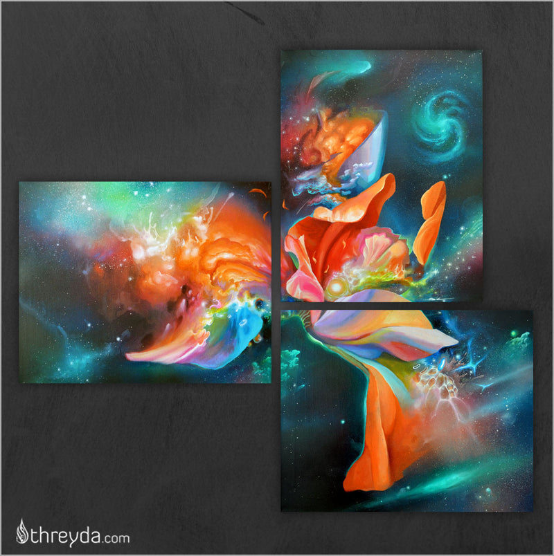 Blooming Odyssey Triptych by Brian Scott Hampton , Art Print - Brian Scott Hampton, Threyda