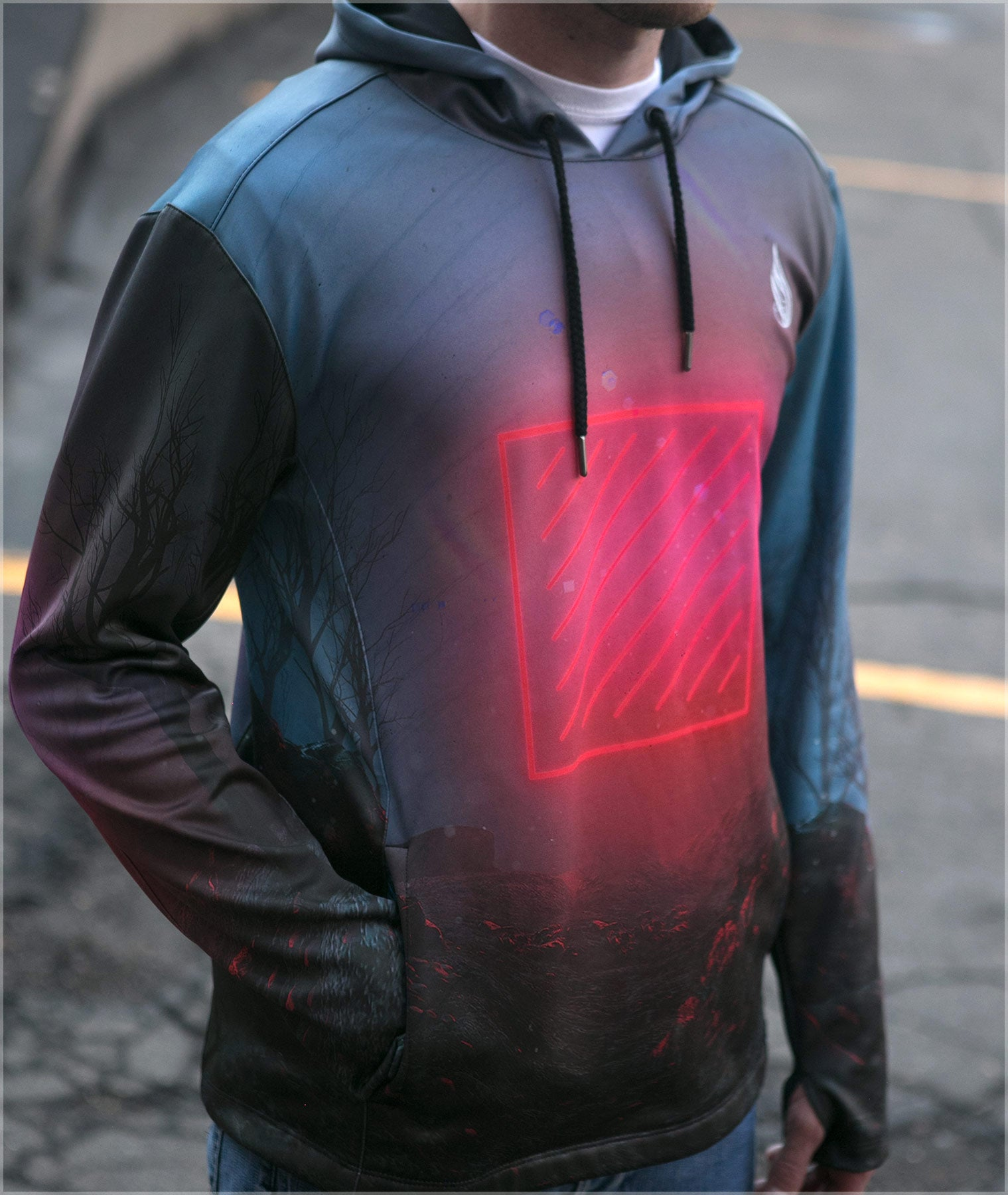 Red Grid Midweight Pullover by Beeple