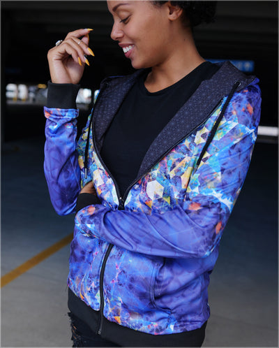 Nebula Lightweight Reversible Satin Women's Jacket by Andy Gilmore - Ships 09/2019