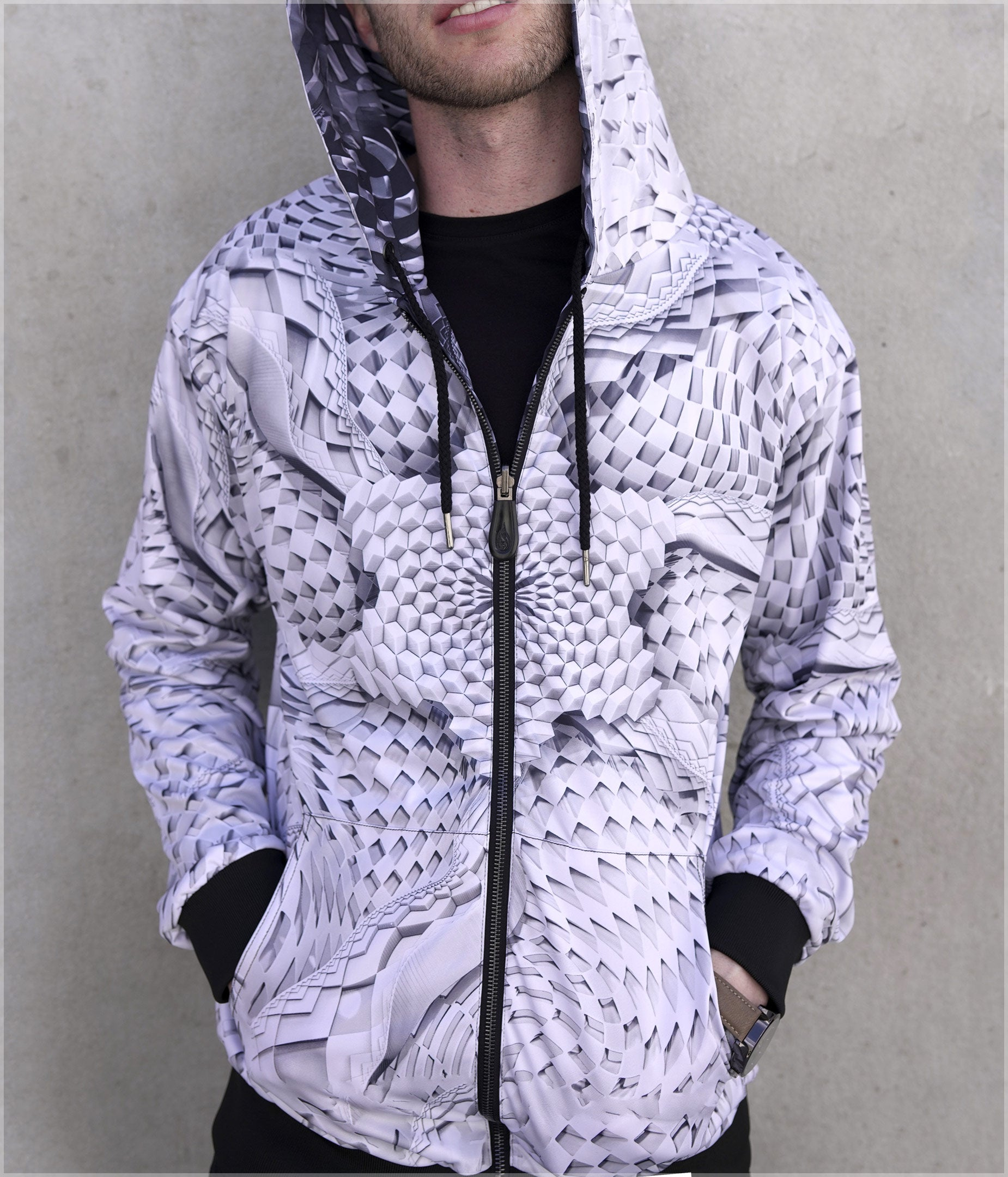 Light Star / Dark Star Lightweight Reversible Satin Jacket by Ben Ridgway