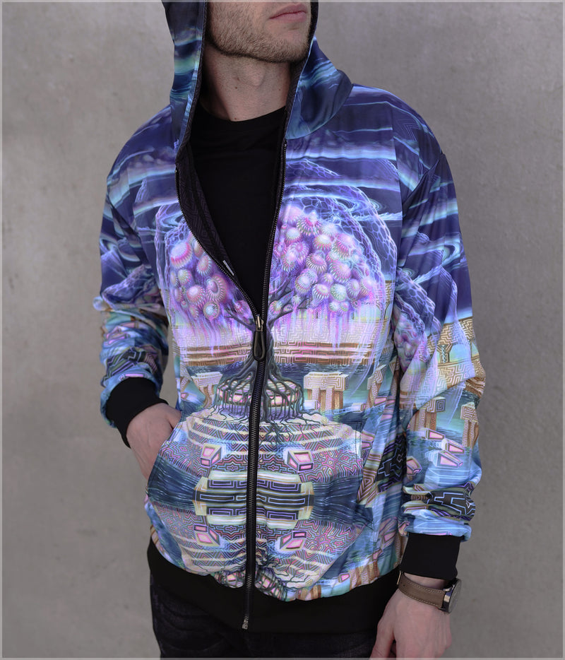 Roots of Creation Lightweight Reversible Satin Jacket by Blake Foster - Backstock Available