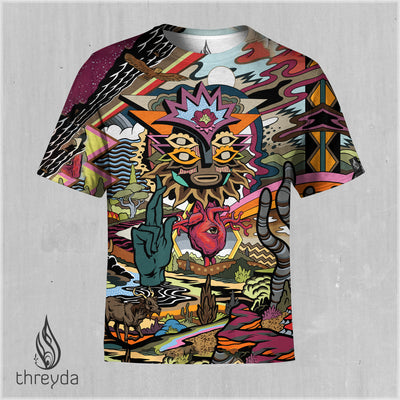 The World Exists Within the Light of I AM Sublimation Tee by Travis Gillan