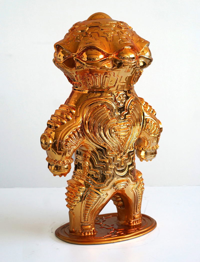 Dogu Gold Chrome Plated Sculpture by Ben Ridgway