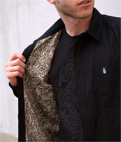 Gold Leaf Button Down Shirt by Threyda  - Ships March 2020