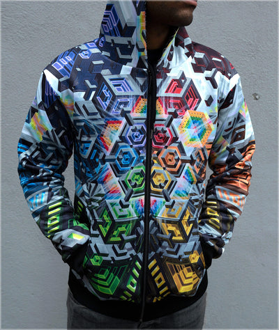 Rainbow Mech Midweight Reversible Hoodie by Mike Cole - Ships April 2020