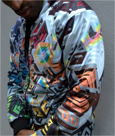 Rainbow Mech Reversible Heavyweight Hoodie by Mike Cole