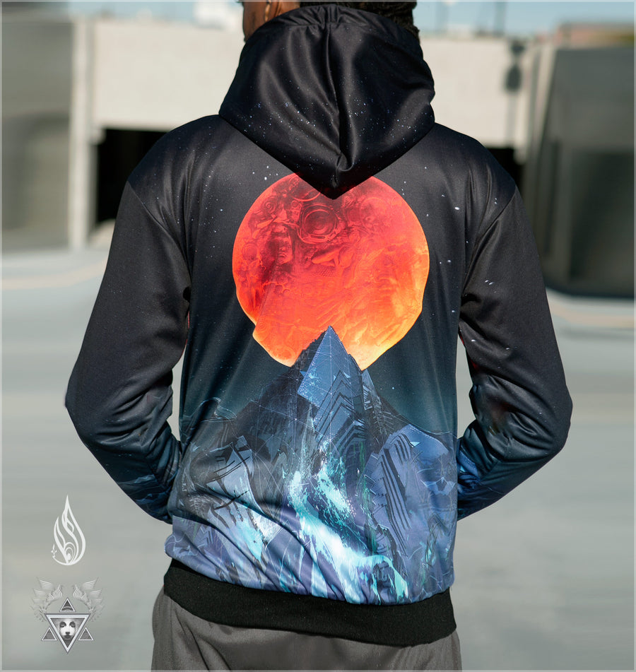 Blood Moon Reversible Satin Hoodie by Android Jones