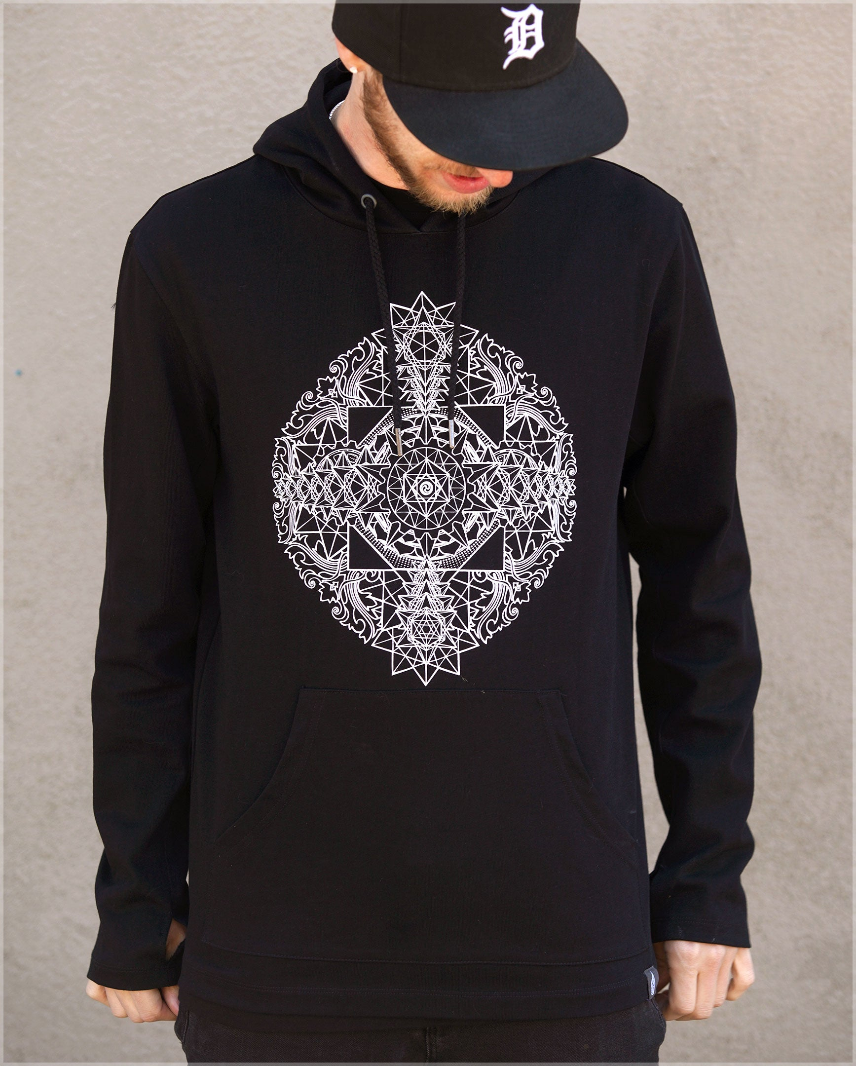 Sri Yantra Cotton Pullover Hoodie by Kimi Takemura