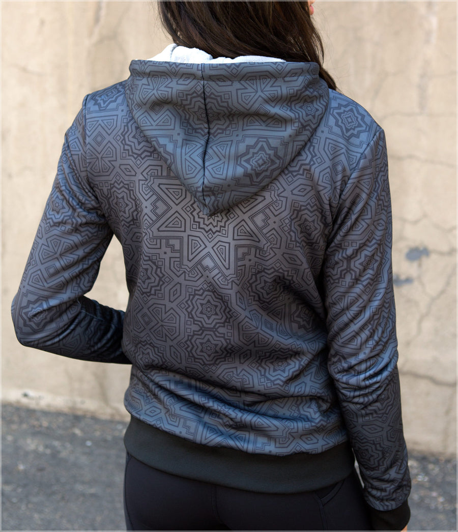 Graphite Sherpa Women's Hoodie by Justin Totemical