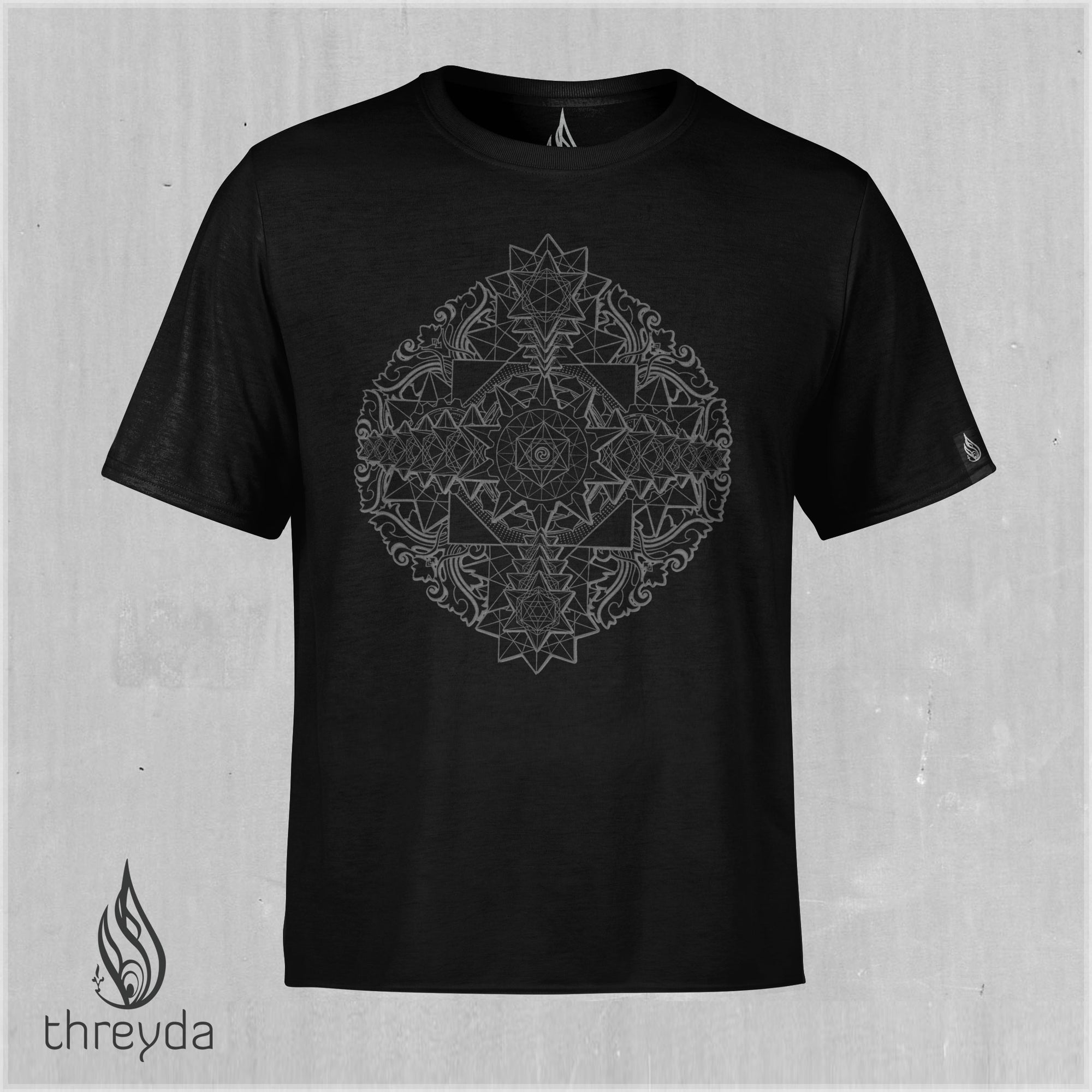Sri Yantra Dark Cotton Tee by Kimi Takemura