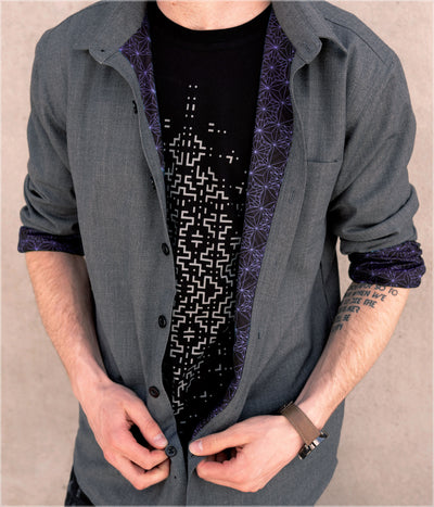 Starseed Violet Button Down Shirt by Kimi Takemura