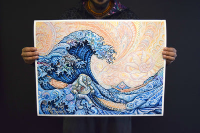 Hokusai - The Great Wave - by Randal Roberts , Art Print - Randal Roberts, Threyda - 4