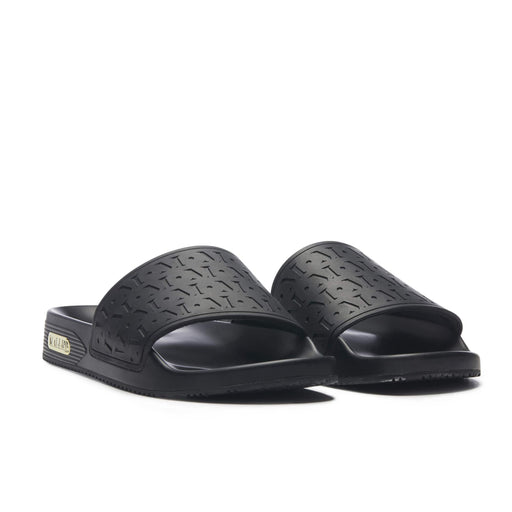 MALLET MONOGRAM SLIDERS BLACK - giancarloricci