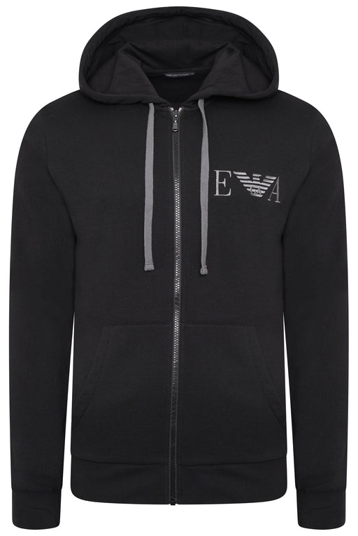 EMPORIO ARMANI BODYWEAR CHEST LOGO ZIPPER HOODIE BLACK