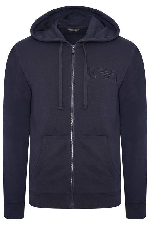 EMPORIO ARMANI BODYWEAR CHEST LOGO ZIPPER HOODIE BLUE