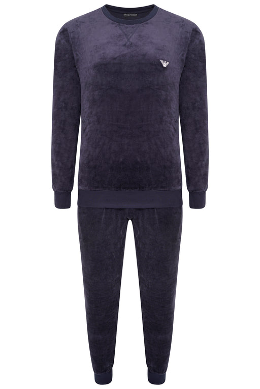 EMPORIO ARMANI BODYWEAR CHEST LOGO VELOUR JOG SUIT BLUE