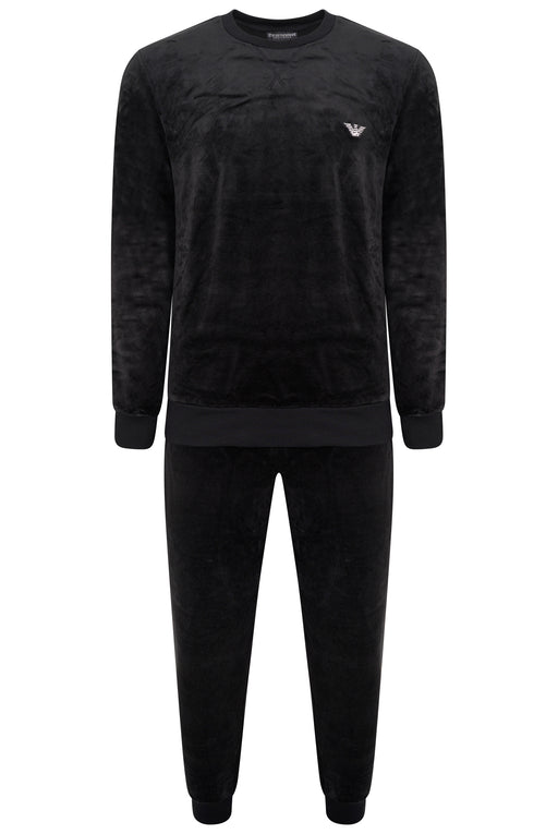 EMPORIO ARMANI BODYWEAR CHEST LOGO VELOUR JOG SUIT BLACK