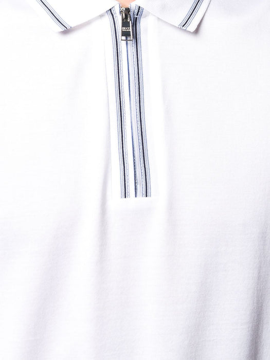 BOSS SMART CASUAL STRIPE TRIM ZIPPER POLO WHITE - giancarloricci