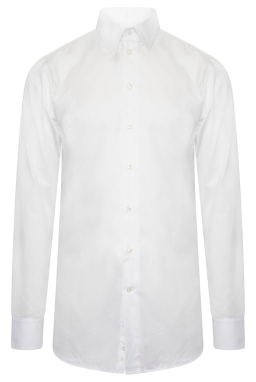 EMPORIO ARMANI MODERN FIT BONED COLLAR SOLID SHIRT WHITE - giancarloricci