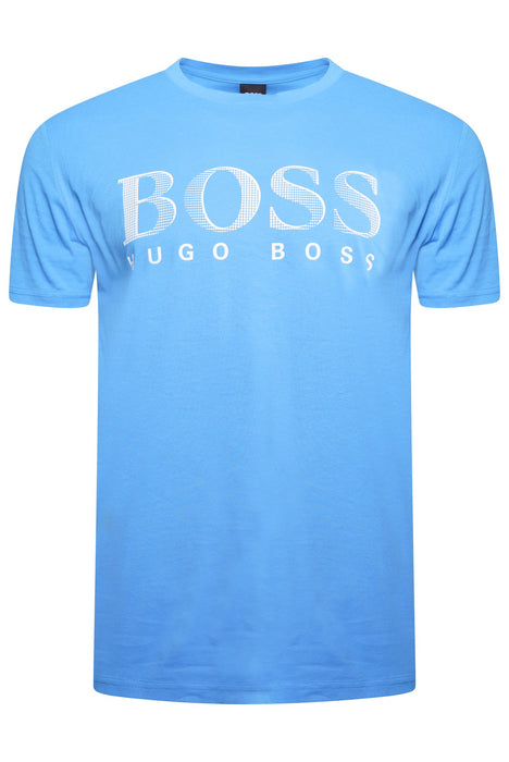 BOSS BODYWEAR LARGE LOGO UV TEE BLUE - giancarloricci