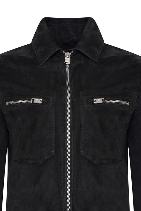 BOSS SMART CASUAL ZIP THROUGH SUEDE JACKET BLUE