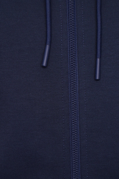 BOSS ATHLEISURE RUBBER LOGO ZIPPER HOODIE BLUE