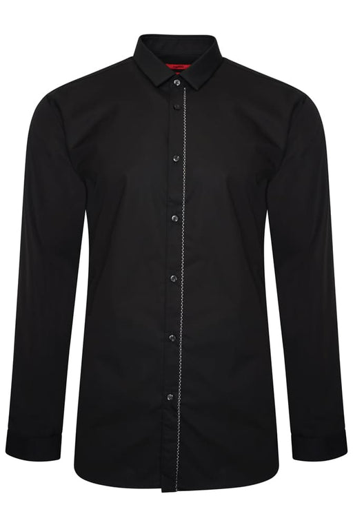 HUGO EXTRA SLIM TAPE PLACKET SHIRT BLACK - giancarloricci